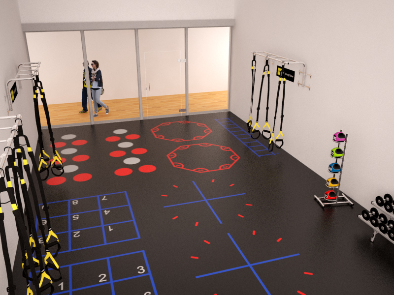 Racquetball court conversion designed for health clubs for Sport court cost per square foot
