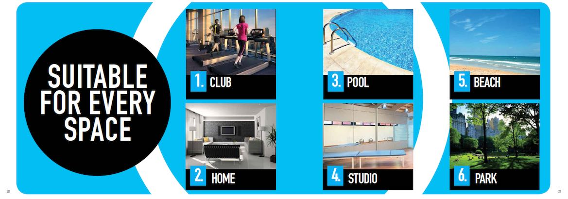 Queenax modular exercise and training system is designed to be used in many locations including a health club, your home, a pool, a studio, at the beach, or in a park.