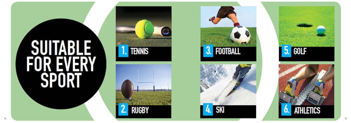 Queenax is used for training for tennis, football, golf, rugby, skiing, and athletics.