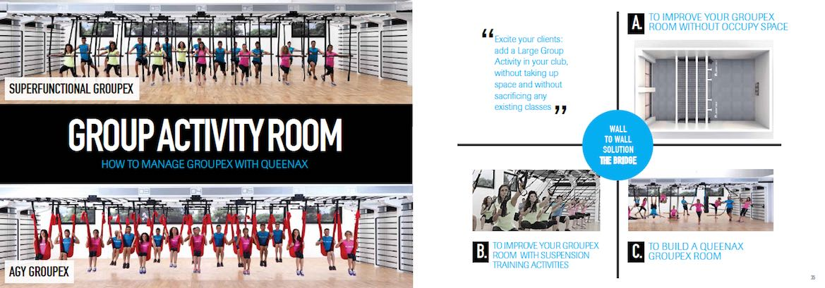 The Queenax exercise system is ideal for your group activity room and can be designed to accommodate super functional groupx and anti-gravity yoga groupx.