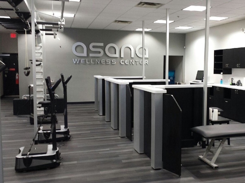 This high-end, luxury, group fitness concept was designed for ASANA developed to integrate the business of fitness with the atmosphere of an upscale health club, chiropractic facility, and group exercise environment.