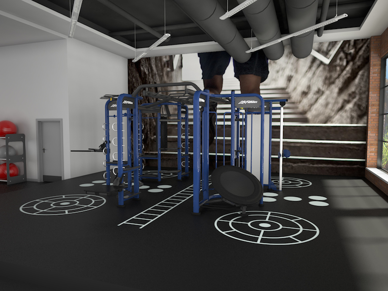 3D rendering image for a hotel fitness amenity.