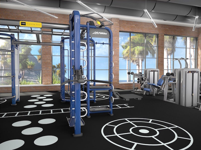 3D rendering image for a hotel resort fitness amenity.