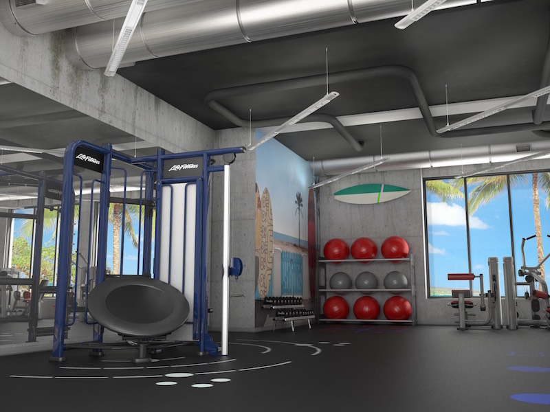3D rendering image for a beachfront Multi-family property fitness amenity.