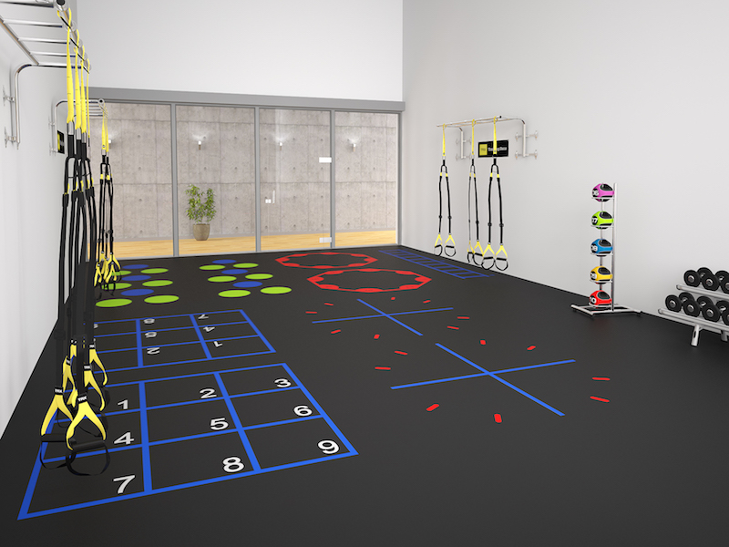 This 3D rendering image for a racquetball court renovation concept.