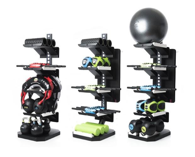 three adjustable vertical gym equipment storage solutions