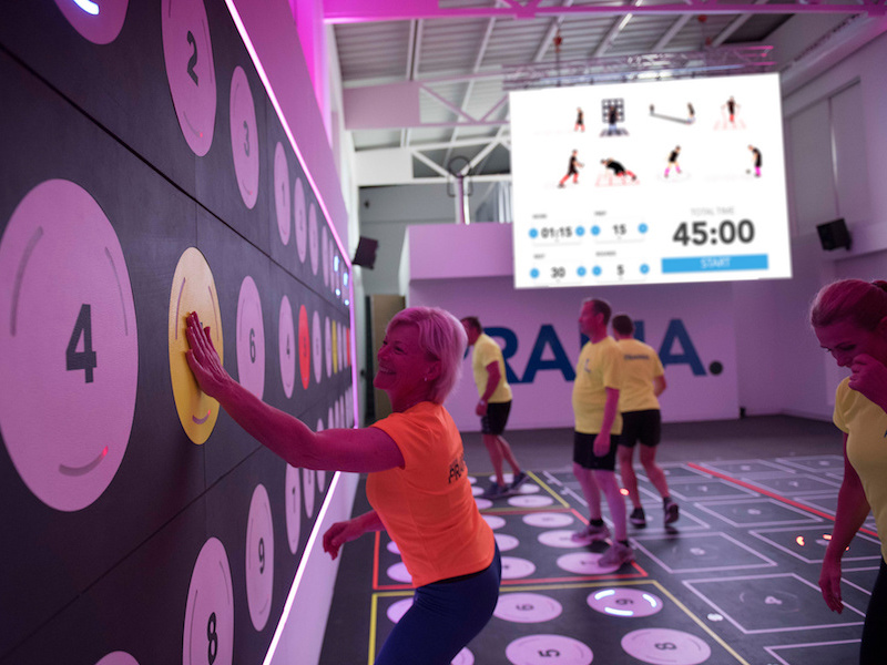 interactive wall and flooring exercise solution video