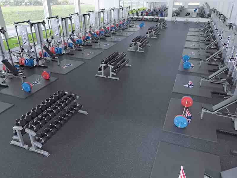Weight room design layout a modern high school athletic for Athletic training facility design