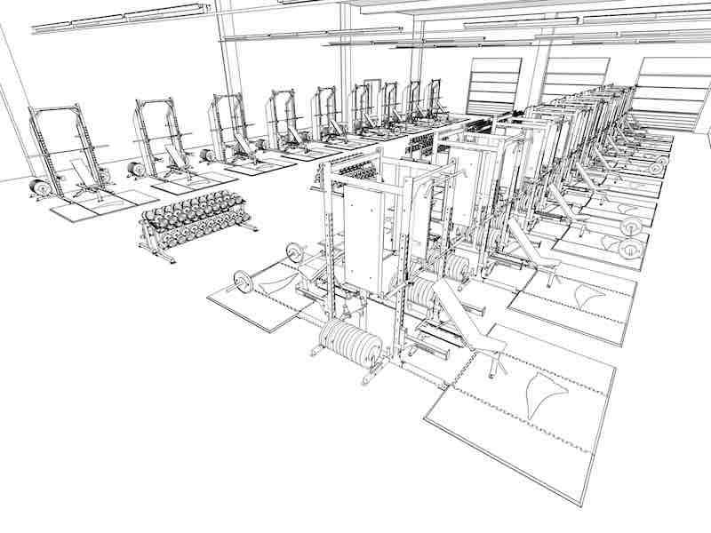 Weight room design layout a modern high school athletic for Training room design layout