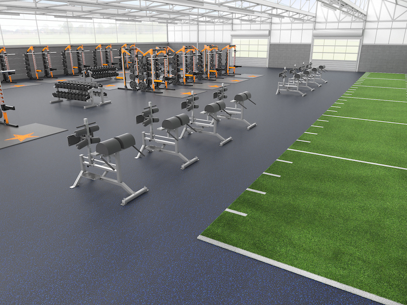 vulcanized rolled rubber flooring in an athletic facility