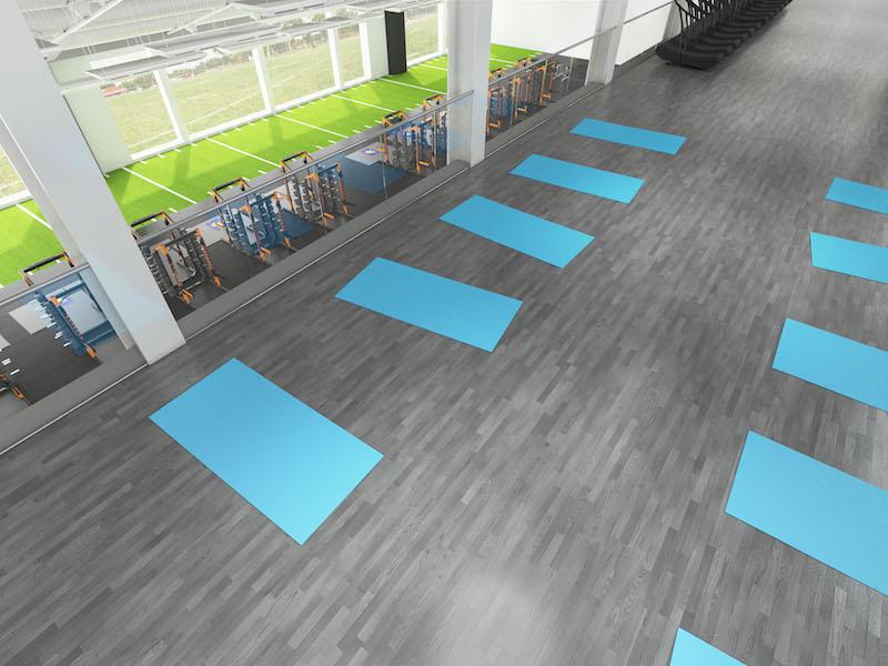 wood grain vinyl flooring for a student rec center