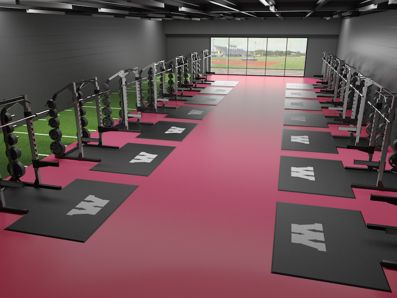 8mm red rolled virgin rubber flooring in a weight room