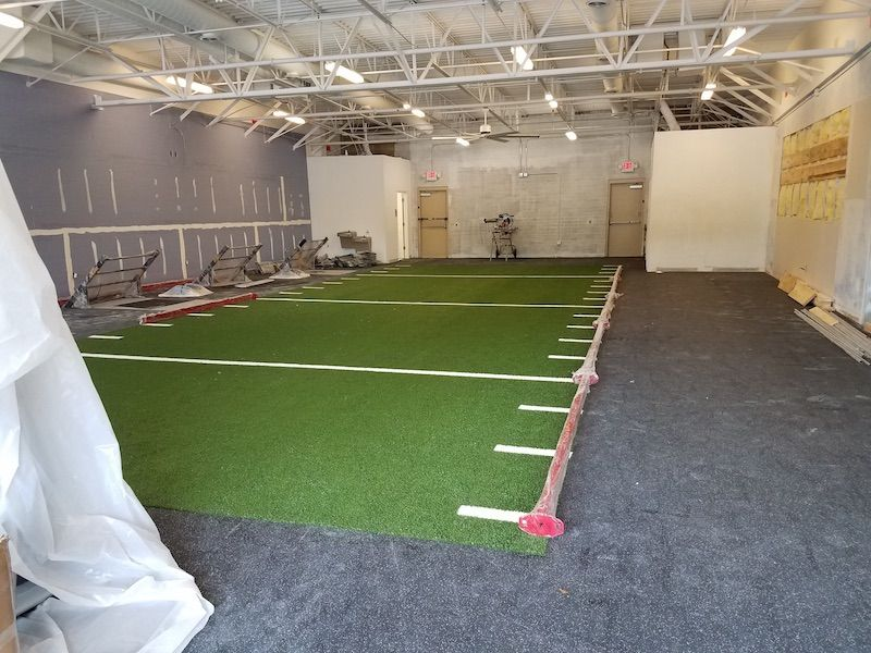 weight room during construction