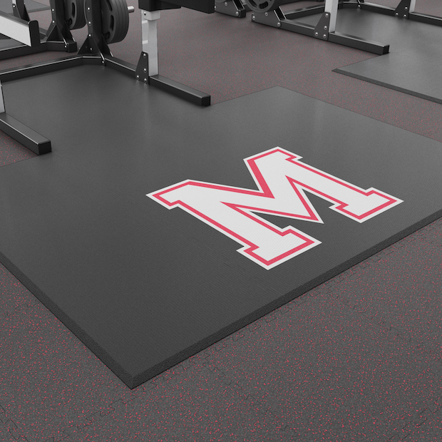 Close up 20mm Bevelled 6ft x 8ft Weightlifting Platform with Custom Cut Interlocking Section