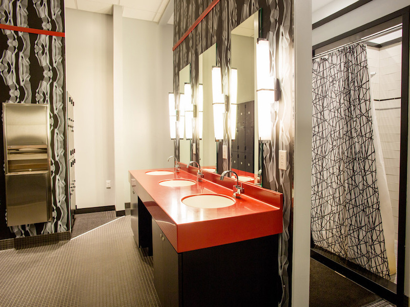mid-century modern contemporary mens locker room interior design