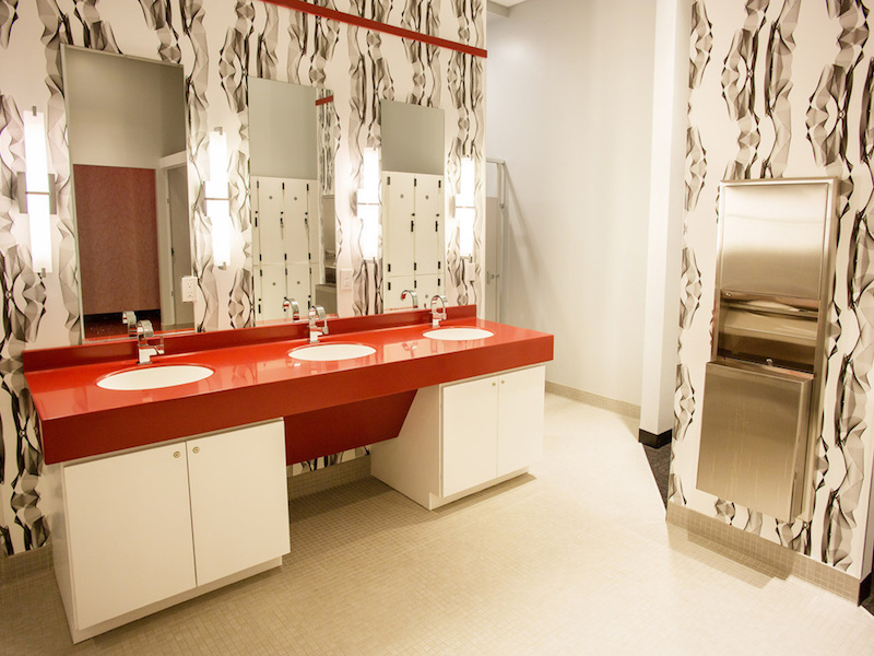mid-century modern contemporary women's locker room interior design