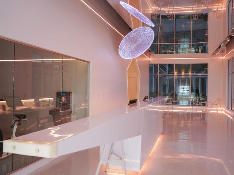 futuristic concept gym lobby design
